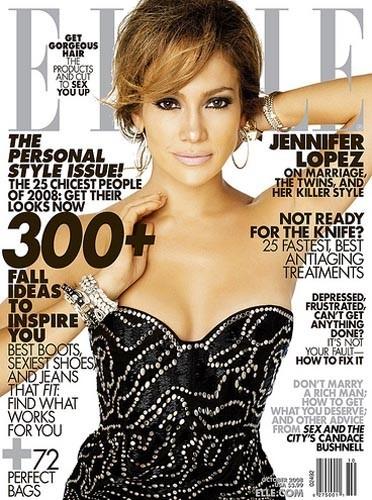 Jennifer Lopez en couverture de ELLE