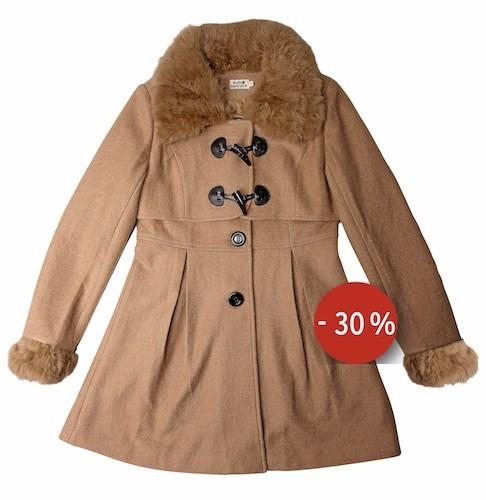 Manteau beige fourrure au col et noeud sur mollybracken.com