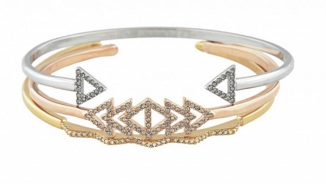 Manchettes, Arrow argentée, triangle doré rose et chevron doré, Stella & Dot, 34€