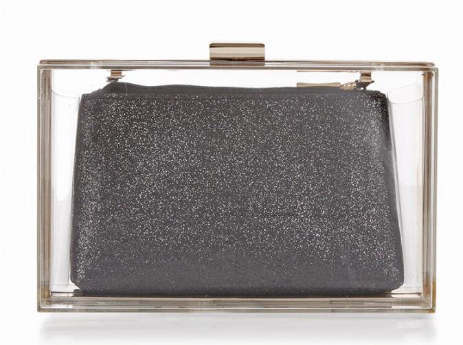 Minaudière transparente et pochette pailletée, New Look 24,99€