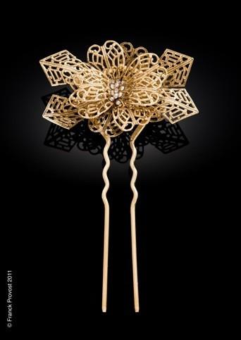 Collection de bijoux cheveux Franck Provost pour le 64 ème Festival de Cannes: Le pic fleur doré
