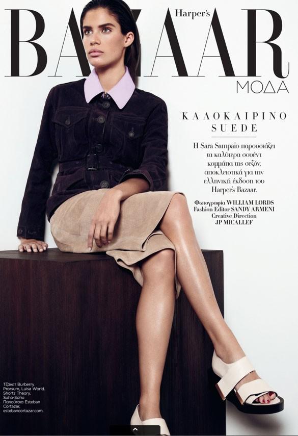 Sara Sampaio en couverture du Harper's Bazaar Grèce