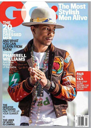 Pharell Williams en couverture de GQ