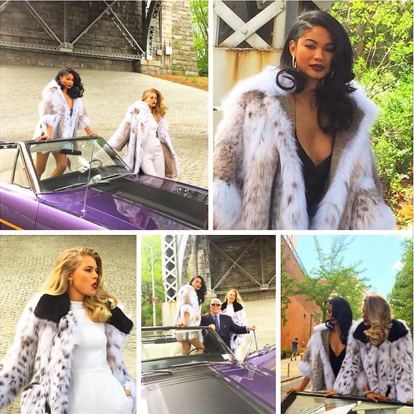 Les coulisses du shooting photos de la nouvelle campagne de Dennis Basso avec Chanel Iman et Tori Praver