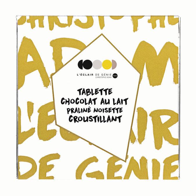 Tablette de chocolat lait praliné noisette, L'Éclair de génie. 7 €.