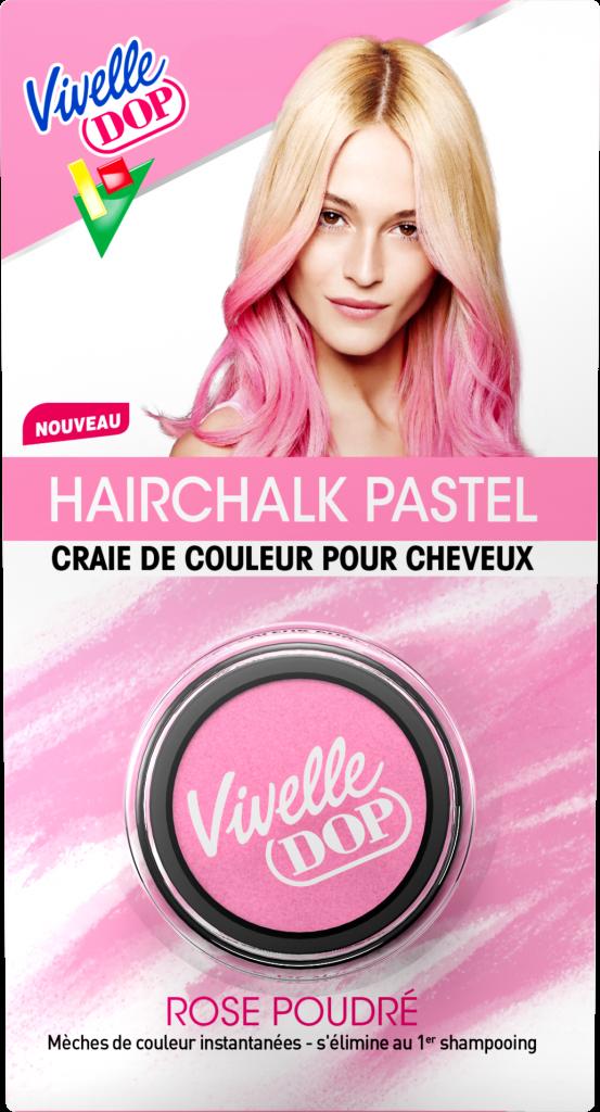 Hairchalks Pastels – Vivelle Dop – 7,99€ la craie – Existe en 4 couleurs (Rose, Vert, Bleu ou Violet)