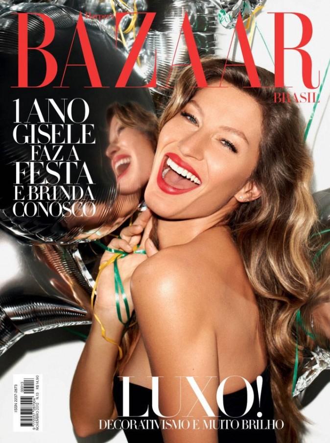 Gisele Bündchen en une du Harper's Bazaar Brésil.