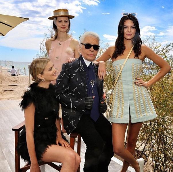 Lily Donaldson, Lindsey Wixson, Karl Largerfeld, Kendall Jenner