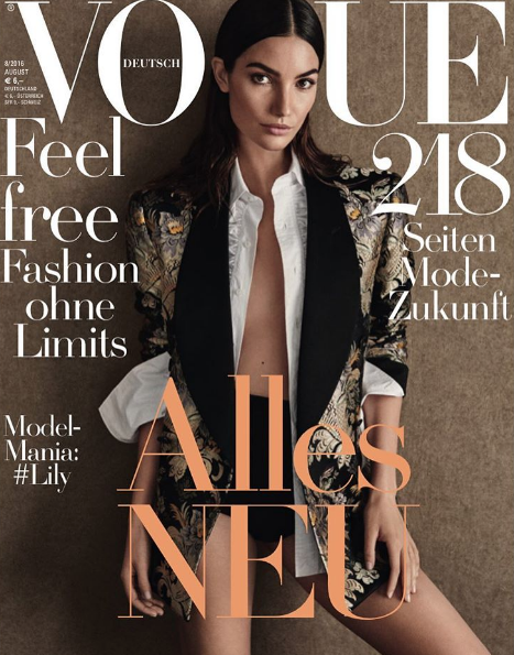 Lily Aldridge ultra stylée en couverture de Vogue Allemagne