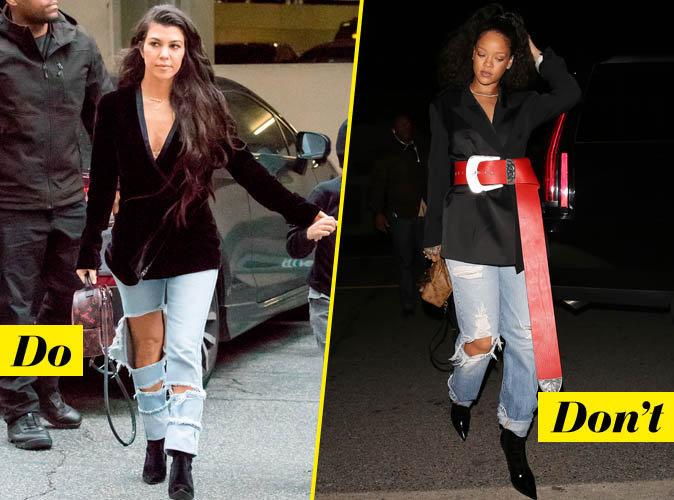 Le blazer et jean destroy - Do : Kourtney Kardashian / Don't : Rihanna