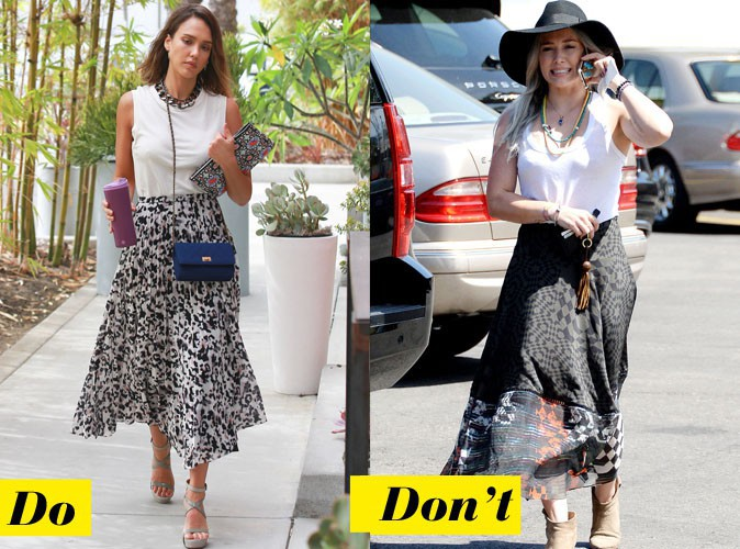 La jupe longue imprimé - Do : Jessica Alba / Don't : Hilary Duff