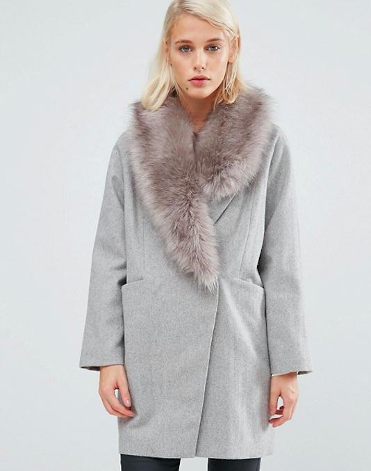 Manteau en laine à col symétrique en fausse fourrure - ASOS - 113,99€