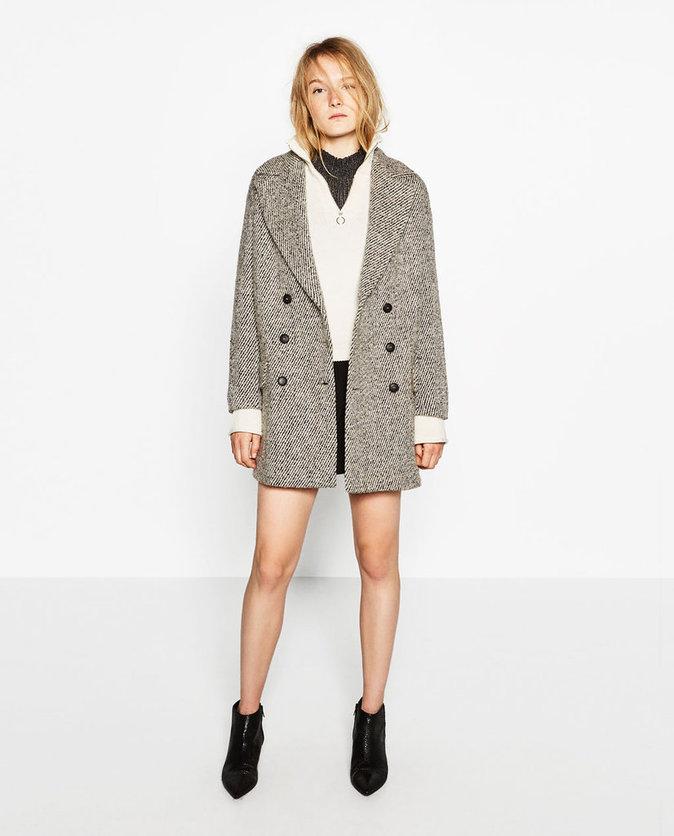 Manteau gris/beige à double rangée de boutons - ZARA - 79,95€