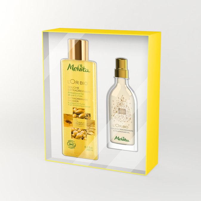 Coffret douche et huile pour le corps Melvita