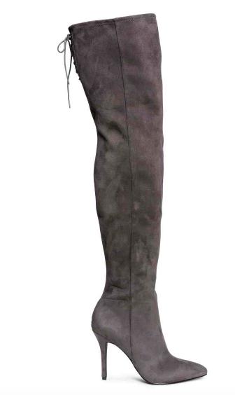 Cuissardes en daim gris foncé – H&M – 49,99€