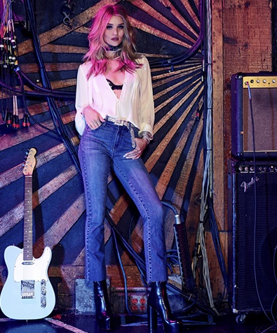 Photos : Rosie Huntington-Whiteley devient rock star pour Paige Denim !