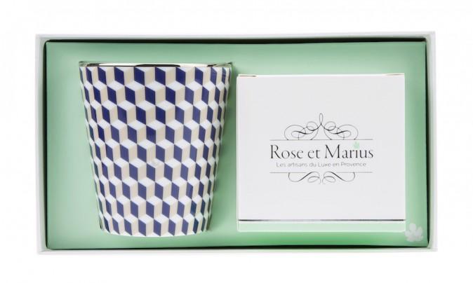 Bougie parfumée Tometo bleu et tilleul, Rose et Marius sur delyss.com 89 €