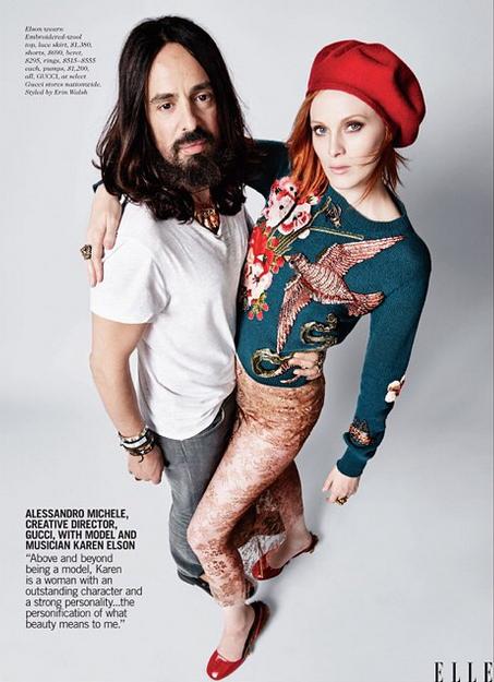 Alessandro Michele de chez Gucci avec le mannequin et musicienne Karen Elson