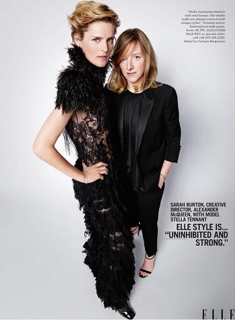 Sarah Burton de la griffe Alexander McQueen avec le mannequin Stella Tennant