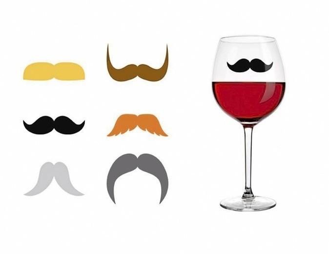 6 marqueurs de verre Moustache, Kikkerland sur minimall.fr 6 €