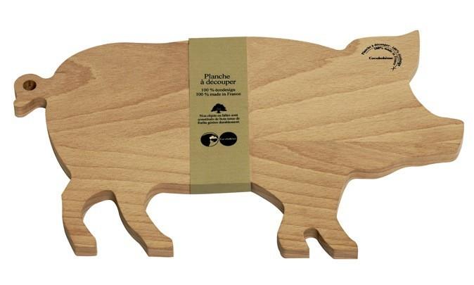 Planche à snacker, cochon en hêtre massif, sur autreshop.com 29,90 €
