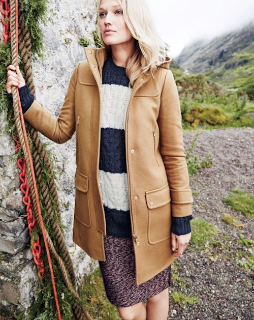 Toni Garrn : beauté hivernale pour un week-end à la campagne avec J.Crew !