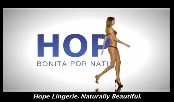 Le slogan de la marque: Hope Lingerie, naturelle et magnifique.