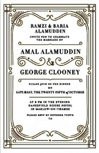 Invitation dîner post mariage Amal et George Clooney