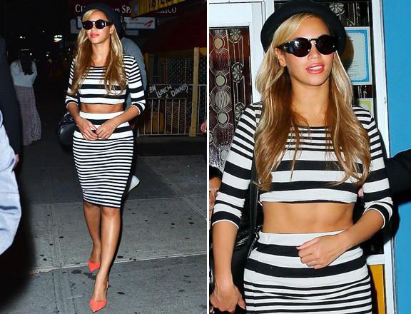 Les rayures de Beyoncé qui laisse voir ses beaux abdos ! waw !