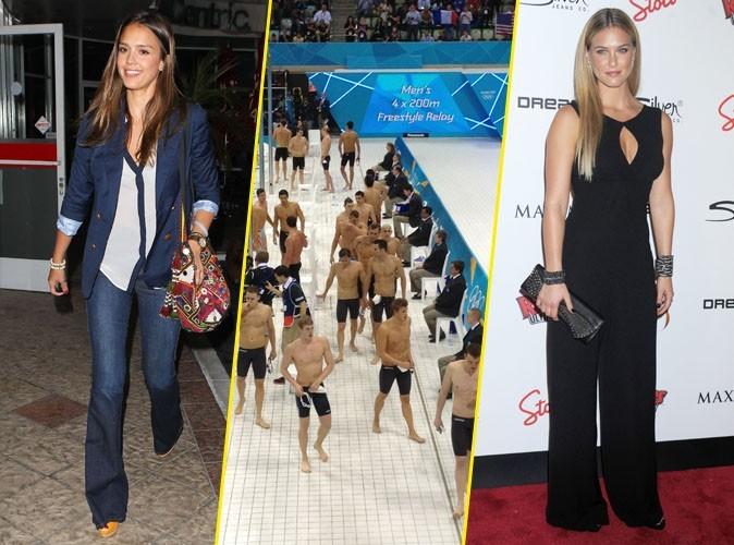 J.O. 2012 : Jessica Alba et Bar Refaeli complètements folles des nageurs !