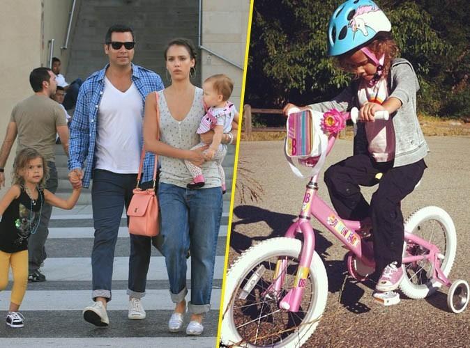 Jessica Alba : sa petite Honor s'essaie au vélo !