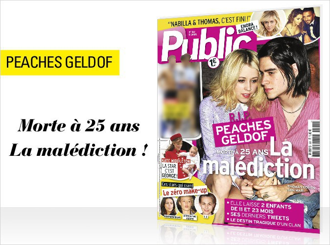 Magazine Public : Peaches Geldof : la it girl disparue trop tôt en couverture !