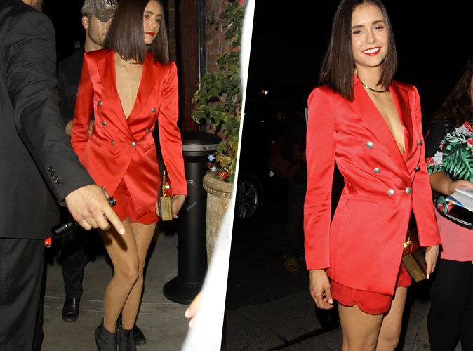 Nina Dobrev : On craque pour son blazer en satin rouge !