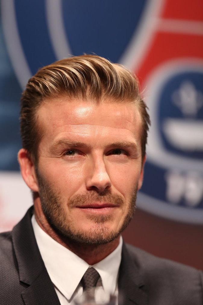 David Beckham a officialise son entrée dans l'equipe de football du Paris-St Germain (PSG) lors d'une conférence de presse au Parc des Princes