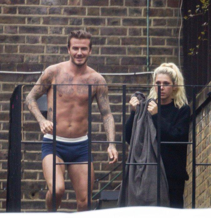 David Beckham et sa doublure en tournage pour la nouvelle campagne de sous-vêtements H&M à Londres