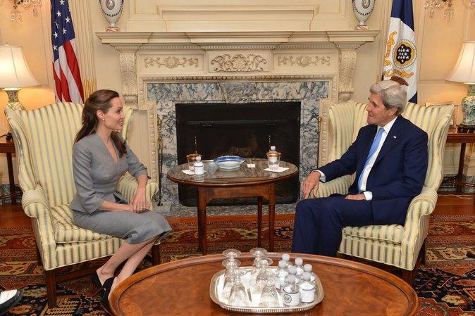 Angelina Jolie était à Washington ce 20 juin pour discuter du sort des réfugiés avec John Kerry