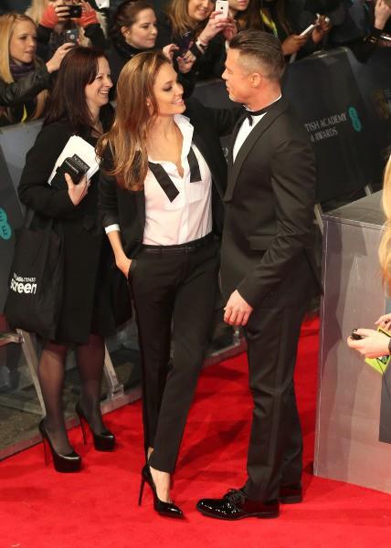 Angelina Jolie et Brad Pitt lors de la cérémonie des BAFTA Awards à Londres, le 16 février 2014.