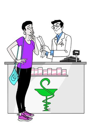 Le pharmacien. Même si vous avez l'impression que c'est plus délicat de parler contraception que maux de tête ou rhume des foins, c'est aus...