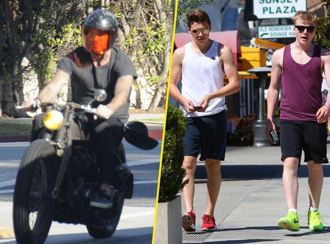 David et Brooklyn Beckham, le 25 juillet 2015