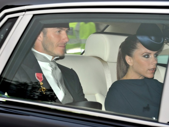 Victoria et David Beckham au mariage de Kate Middleton et du prince William à Londres, le 29 avril 2011.