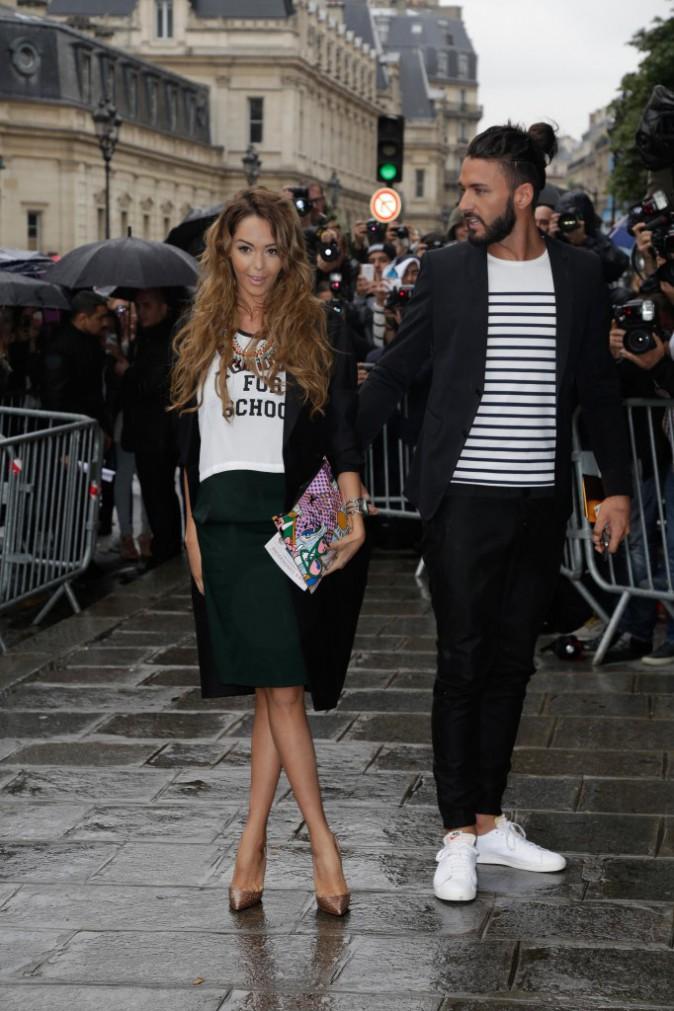 Nabilla et Thomas au défilé Jean Paul Gaultier, le mercredi 9 juillet à Paris