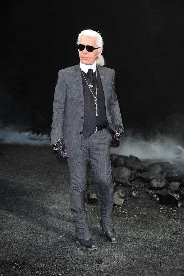 Karl Lagerfeld au défilé Chanel