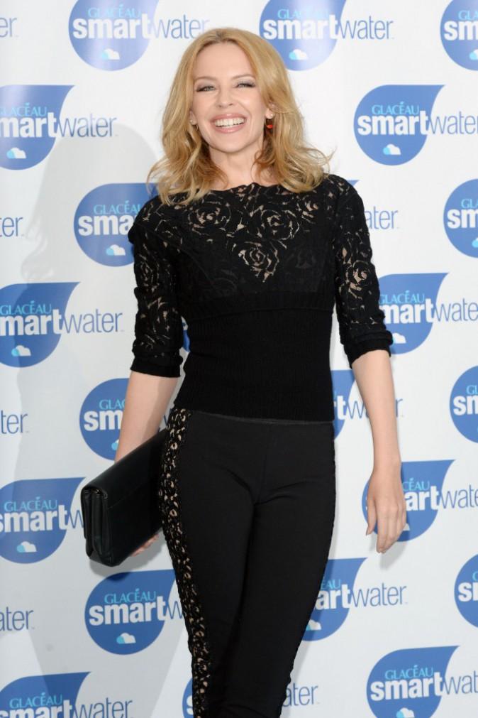 Kylie Minogue lors du lancement de la gamme SmartWater de la marque Glaceau, à Londres, le 28 août 2014.