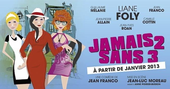 Jamais 2 sans 3. Théâtre du Palais-Royal, Paris 1er. À partir de 11,90 € au 01 42 97 40 00.