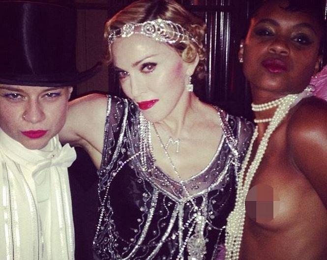 Madonna et ses invitées, à Cannes, le 16 août 2014