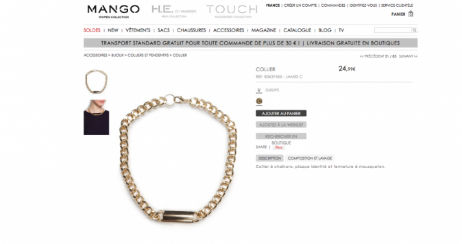 """Depuis, Mango a retiré l'appellation """"style esclave"""" de son site internet"""