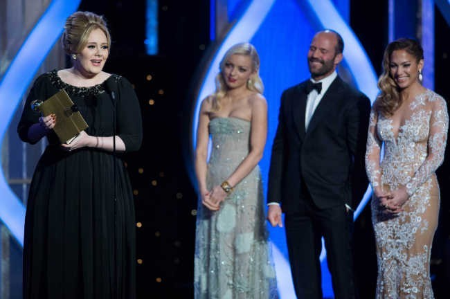 Adele sur la scène de Golden Globes le 13 janvier 2013 à Los Angeles