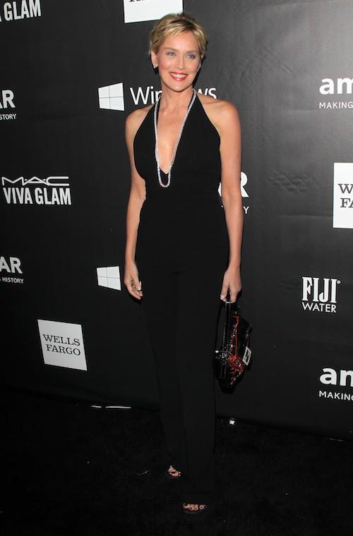 Sharon Stone au gala de l'AmfAR, le 29 octobre 2014 à Los Angeles