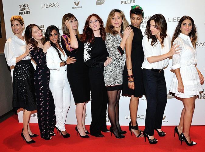 """L'équipe du film """"Sous les jupes des filles"""" à Paris le 2 juin 2014"""
