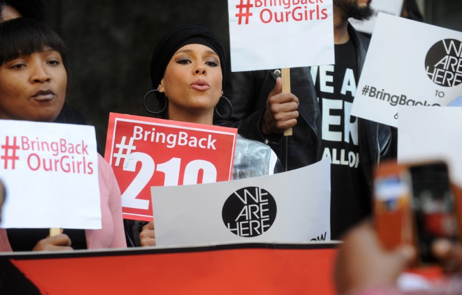 "Alicia Keys et Swizz Beatz au rassemblement ""Bring Back Our Girls"" organisé à New-York le 14 octobre 2014"